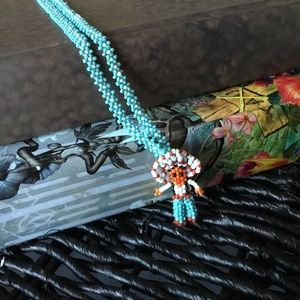Vintage 90s Mexican Indian Seed Bead Necklace